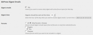 User settings with subscription selected, which includes only forums chosen by user
