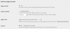 User settings with subscription selected, with weekly interval enabled